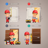 Door Installation Step by Step with Handyman Stock Photography