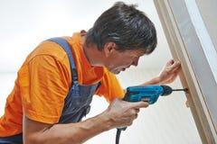 Door installation workers Royalty Free Stock Photo