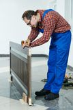 Door installer at work Royalty Free Stock Photos