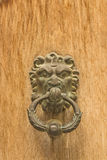 Door, iron lion door knocker Royalty Free Stock Images