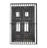 Door and iron mesh isolated. Old wooden door and iron bar isolated Stock Images