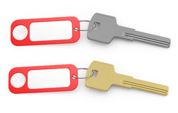 Door key. 3d render of door keys with blank key tag Stock Photo