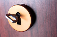 Door and key Royalty Free Stock Photo