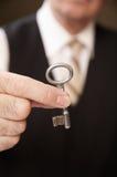 Door key. Hand holds a  door key Stock Photography