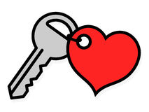 Door key with an attached heart tag Royalty Free Stock Photography