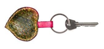 Door key on green heart shaped key chain stock photo