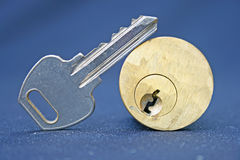 Door key and lock Royalty Free Stock Images