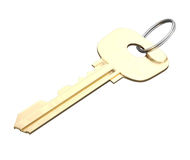 Door key with ring isolated on white background. 3d render image Stock Images