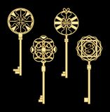 Door key set in golden metallic design with historic ornamental vintage patterns. Royalty Free Stock Photos