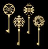 door key set in golden metallic design with historic ornamental vintage patterns. Royalty Free Stock Photos
