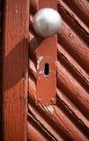 Door with keyhole and door knob stock image