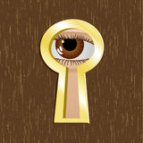 Door keyhole with eye Stock Photos