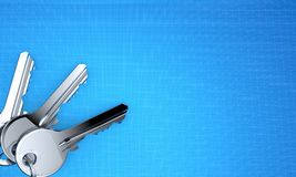 Door keys. On blueprint background. 3d illustration Stock Photo