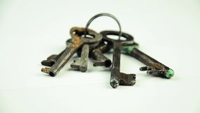 Door keys. A bunch of old keys stock video footage