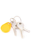 Door keys and circle yellow key card Royalty Free Stock Image