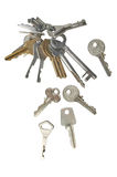 Door keys. Collection of old used keys made of metal. doors. hobby to collect. on a white background stock photography