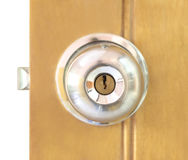 Door knob. With keyhole and padlock royalty free stock photography