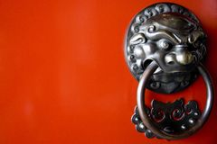 Door knob. An olden door knob on the door of a chinese temple Royalty Free Stock Photos