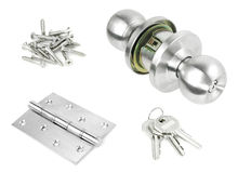 Door Knob. Assembly with bolts ,key and screws on White Background stock image