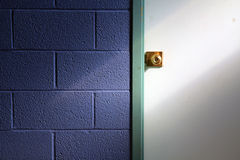Door Knob and Blue Wall Stock Photography