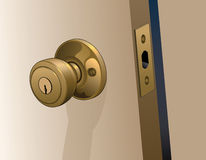 Door Knob on Door. Illustration of a doorknob in a reflective gold color with keyhole on a slightly open door Stock Photo