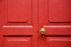Door Knob Golden Color With Red Door Background Stock Image - Image ...