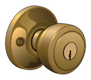 Door Knob. Illustration of a doorknob in a reflective gold color with keyhole Royalty Free Stock Images