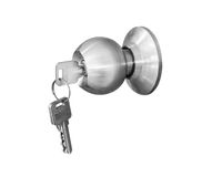 Door knob locks. With keys isolate stock photography