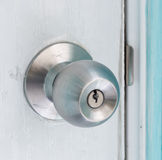 Door knob. On the white door royalty free stock photography