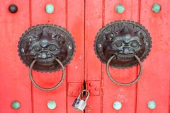 Door knobs. With Chinese design Royalty Free Stock Images