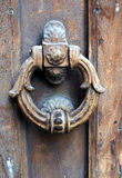 Door knocker. On a wooden door royalty free stock photo