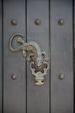 Door knocker. Metal lizard door knocker on wood door stock images