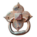 Door knocker, ancient handle, isolated. On white Royalty Free Stock Photos