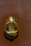 Door knocker. Brass door knocker on brown door Royalty Free Stock Image