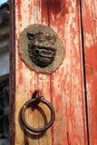 Door knocker. Chinese traditional door knocker , door with animal design Stock Photo