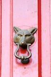 Door Knocker. A fox door knocker on a shiny red door Royalty Free Stock Photography