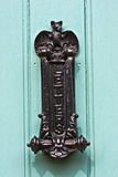 Door knocker and letterbox featuring a black bat Stock Photos