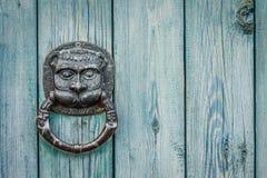 Door Knocker Lion Head. Decorative gilded lion head door knob. Lion head, brass door knocker stock photos