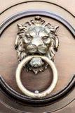 Door knocker lion. On this wooden door you find an Door knocker lion Royalty Free Stock Photo