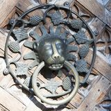 Door Knocker on Medieval entrance door Malbork Castle, Poland. Door detail Mary`s Castle, Malbork, Poland Royalty Free Stock Photo