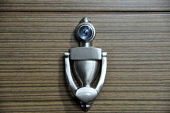Door knocker with peep hole Royalty Free Stock Images