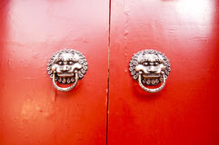 Door knocker  in the shape of the lion Royalty Free Stock Images
