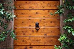 Door knocker on a wooden door royalty free stock image