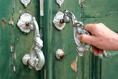 Door knocking Royalty Free Stock Photo