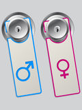 Door labels with male and female symbol. Door label set with male and female sex symbol Royalty Free Stock Photography