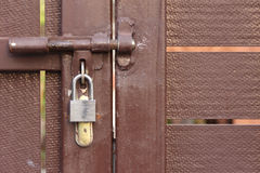 Door latch with padlock Stock Photos