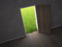 Door leading to a green meadow Stock Photography
