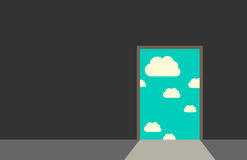 Door leading to sky. Door leading from dark gray room to blue sky with clouds and bright daylight. Great dreams, freedom, hope, faith, real life, beginning royalty free illustration