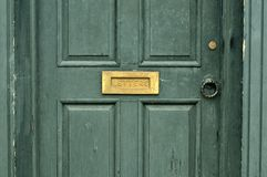 Door with letter box Stock Photo