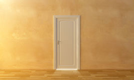 The door for the light. A white door on the wall and an intense light beyond to it Stock Image